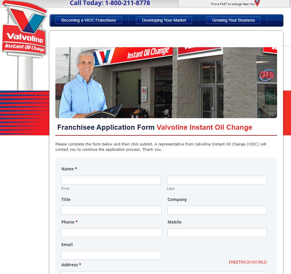application for Valvoline Instant Oil Change
