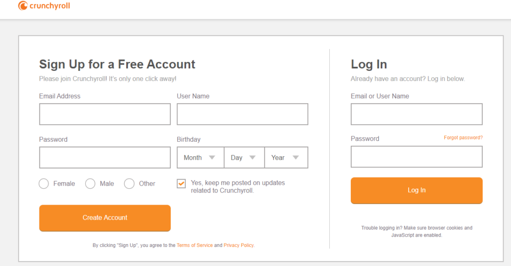 crunchyroll registration premium account