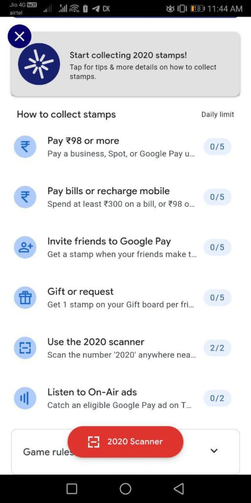 Collect All Stamps From Google Pay