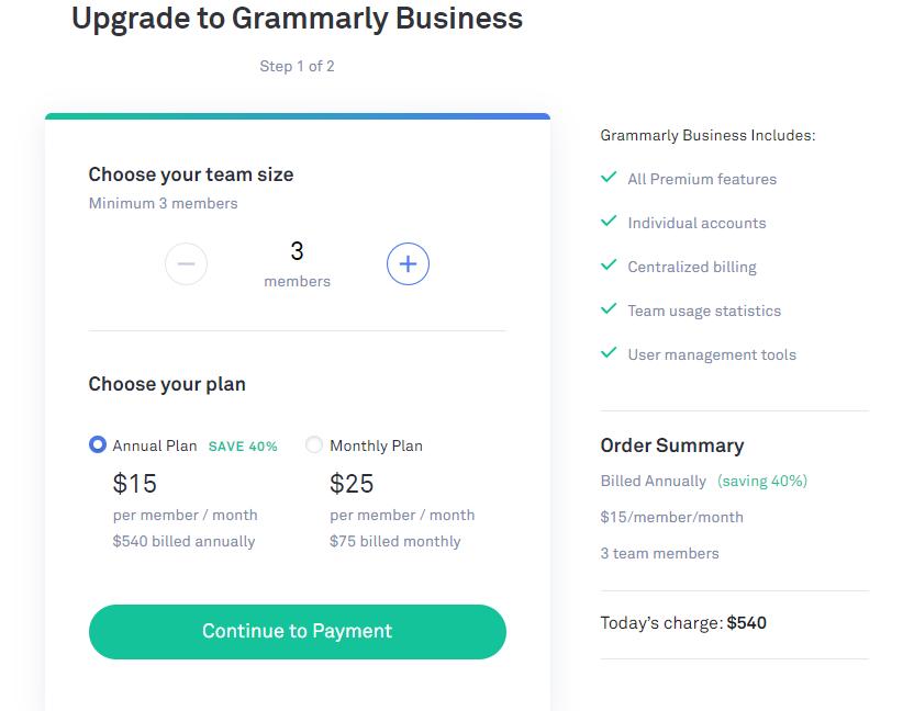 grammarly business plan details