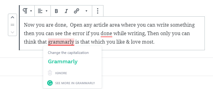 See the above image how grammarly  showing error