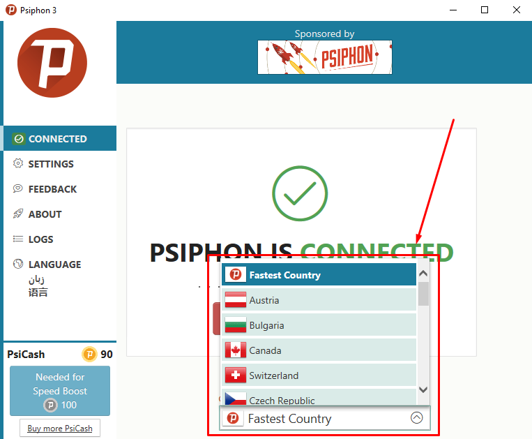 psiphon on pc change ip to another country