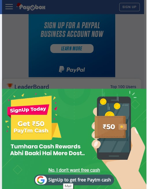 Paybox Free 50 Signup Bonus