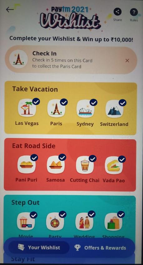 Las Vegas Card Paytm Wishlist